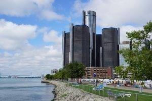 GM Renaissance Center on Detroit River