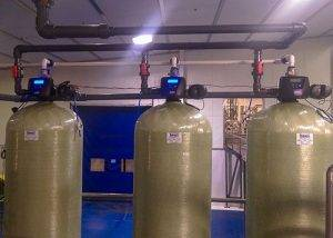 Multi-tank carbon water filter system installed