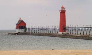 beautiful Grand Haven lighthouse overlooking the water