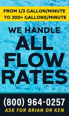 Serviced Deionized  water flow rates ad
